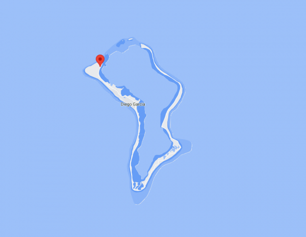 Location of the station on Diego Garcia atoll, close-up view.