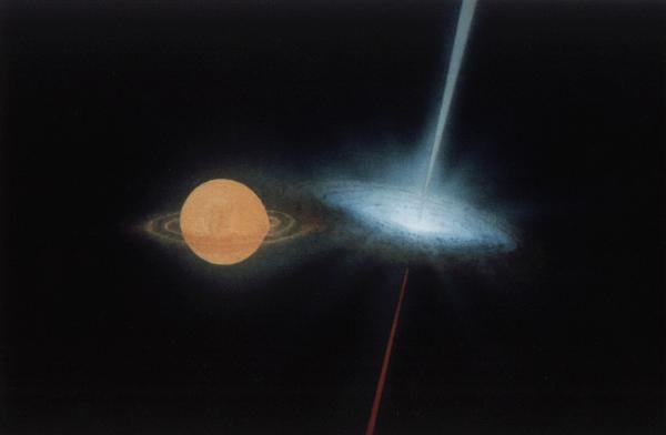 Illustration d'artiste du système SS433 situé à près de 18 000 années lumières. Il héberge une étoile massive (à gauche) dont la matière est attirée par un trou noir formant un disque d'accrétion (à droite) ainsi que des jets se propageant à ¼ de la vitesse de la lumière. Un tel système émet un fort rayonnement variable en rayon X (source : heasarc.gsfc.nasa.gov).