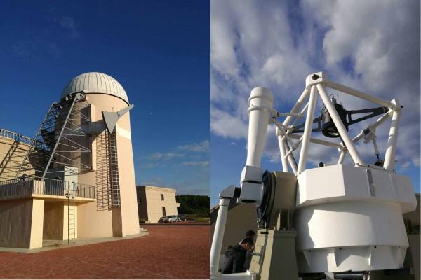 Le dome et le télescope de suivi au sol chinois (C-GFT) de 1 m de diamètre, à l'observatoire de Jilin (Jilin, Chine).