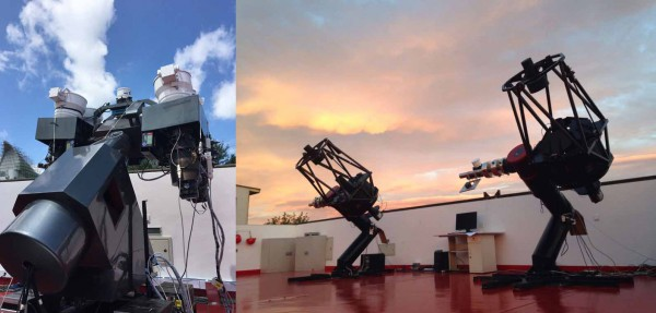 Module GWAC de 4 caméras et télescopes de 60 cm à l'observatoire Xinglong. @NAOC