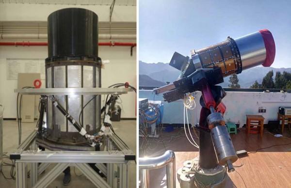 Modèle de test du télescope VT et installation d'essai à l'observatoire de Xinglong (Beijing, Chine). @NAOC
