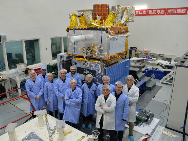 The joint Franco-Chinese team during the test campaign on the satellite qualification model, January 2020.