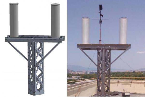 Mât et antennes – représentation 3D et réalité Crédits : CNES
