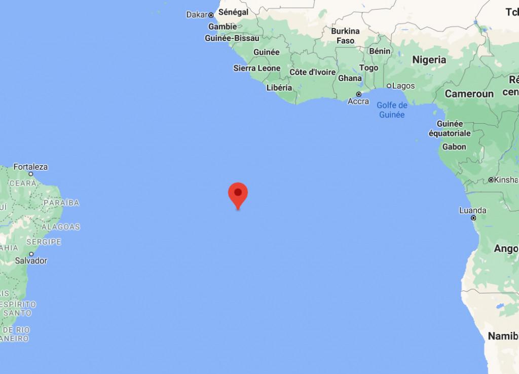 Localisation de la station de l'ile de l'Ascension