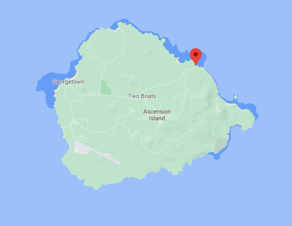 Localisation de la station de l'ile de l'Ascension, vue rapprochée