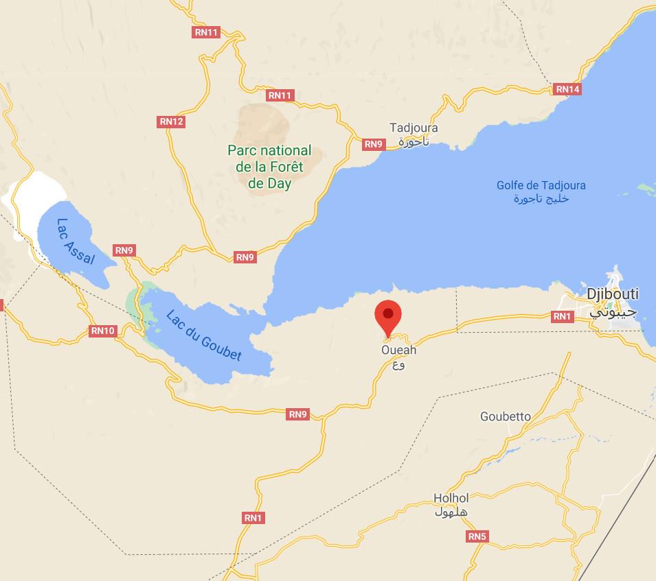 """Localisation de la station de Djibouti """"vue rapprochée"""""""