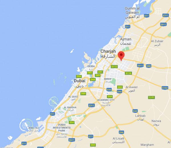 Localisation de la station Charjah aux Emirats Arabes Unis, vue rapprochée