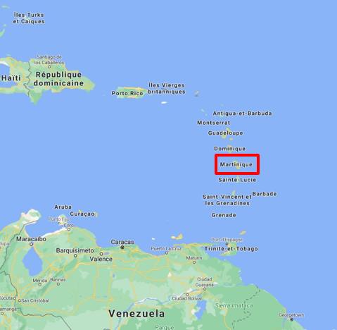 Localisation de la station à la Martinique, vue globale.