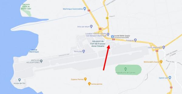 Localisation de la station à la Martinique, vue rapprochée.