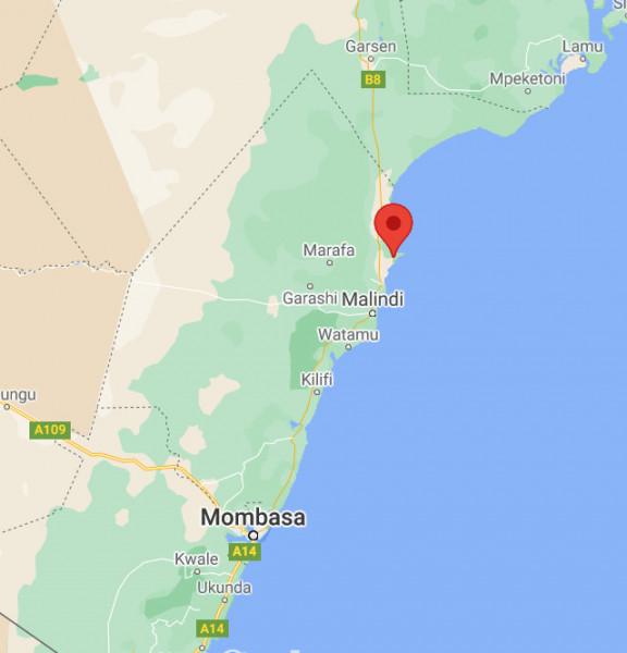 Localisation de la station à Malindi au Kenya, vue rapprochée.