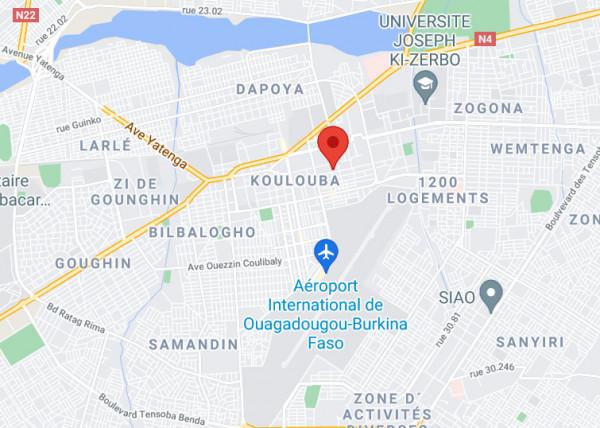 Localisation de la station à Ouagadougou au Burkina Faso, vue rapprochée