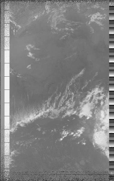 Image reconstituée à partir des données envoyées par le satellite NOAA19.