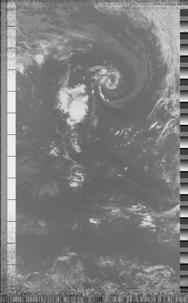 Image reconstituée à partir des données envoyées par le satellite NOAA18[