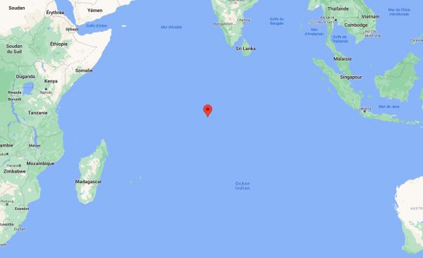 Localisation de la station sur l'atoll de Diego Garcia (vue globale).