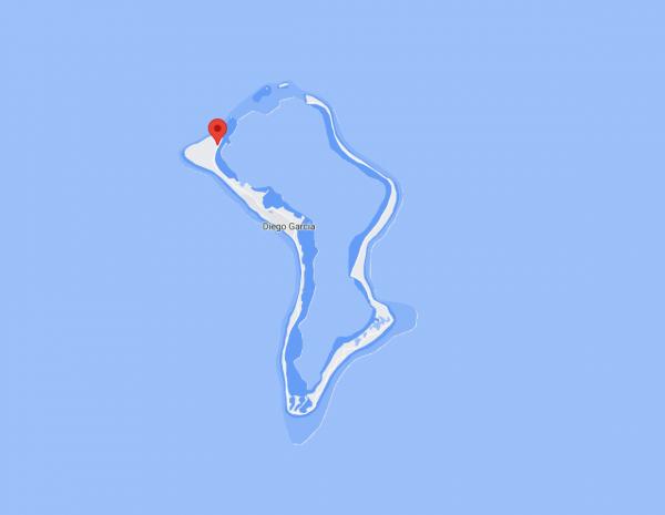 Localisation de la station sur l'ile de Diego Garcia (vue rapprochée).